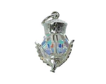 Sterling Silver Swarovski Crystal Set Scottish Thistle Charm For Bracelets