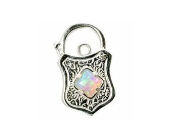 Sterling Silver Opal Set Engraved Padlock For Bracelets