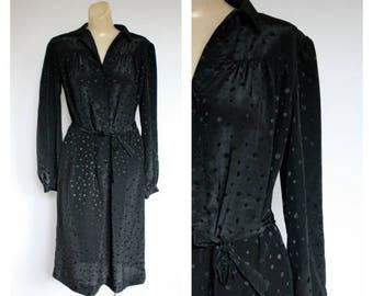 Sale 1980's Little Black Office Dress / Vintage Dot Shirt Dress /  Black Dot Shirt Dress / Vintage Modest Dress / Marie Torelli Dress M/L