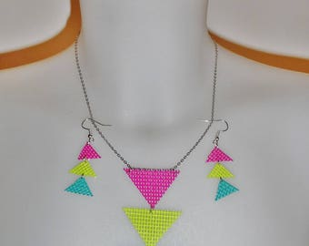 Woman fashion neon triangles set