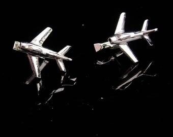 Airplane Cufflinks  / silver set / Pilot gift / Vintage swank Set / Aerospace Aviation / graduation  gift  / father of the bride/ groom gift