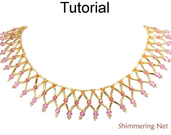 Beading Tutorial Pattern Necklace - Netting Stitch - Crystals and Bugles - Simple Bead Patterns - Shimmering Net #25670
