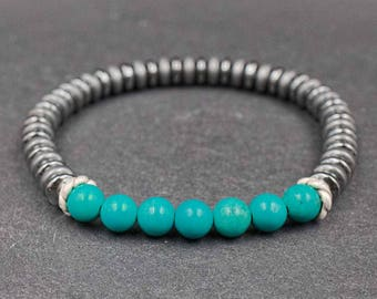 925 Sterling silver, turquoise and hematite bracelet Mens turquoise bracelet Wrist jewelry Mens bracelet for Will power, boldness, strength