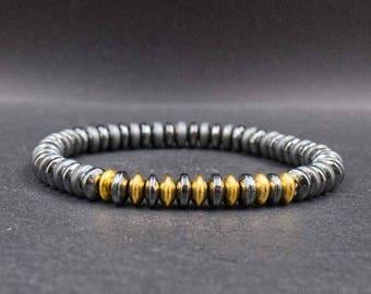 Gold stainless steel mens bracelet Mens hematite bracelet Mens wrist jewelry Gold and black bracelet Mens will power and protection bracelet