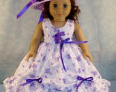 18 Inch Doll Clothes - Purple Floral Eyelet Gown and Hat made by Jane Ellen to fit 18 inch dolls