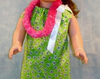 18 Inch Doll Clothes - Hawaiian Muu Muu Green handmade by Jane Ellen to fit 18 inch dolls
