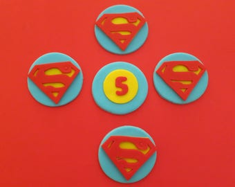 Superhero Superman Inspired  Fondant cupcake toppers