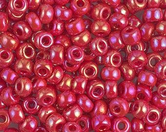 6/0 Opaque Red AB Miyuki Seed Beads, 6-408R Miyuki Red AB Seed Beads, Red AB 6/0 Seed Beads, 16 Grams, 4940