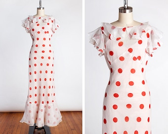 VERY RARE Early 1930s Sheer Red & White Polka Dot Organdy Bias Cut Garden Party Gown with Original Slip and NRA Code Label // Old Hollywood