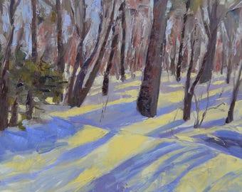 Snowy landscape, original oil landscape, large painting, New England winter, trees and woods, large landscape, winter scene, Garima Parakh
