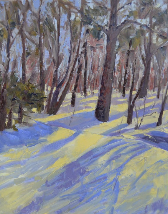 Snowy landscape, original oil landscape, large painting, New England winter, trees and woods, large landscape, winter scene, Garima Parakh