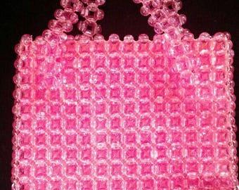 Vintage 1960's pink bauble bead purse