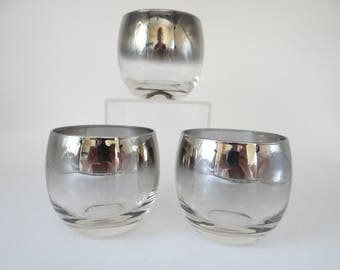 Three Vintage Silver Ombre Roly Poly Glasses - Lovely Mid Century Modern Glassware - Roly Poly Tumblers