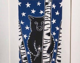 Linoprint of Bear Under a Starry Sky