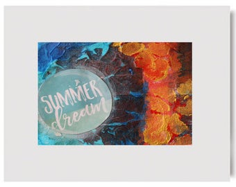 SUMMER DREAM Tropical Mixed Media Original Art Painting Contemporary Modern Bright Colorful Summer Vacation Matted Free USA Shipping