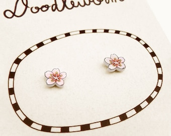 Cherry Blossom Earrings, Cherry Blossom Jewelry, Tiny Earrings, Cherry Blossom Jewellery, Flower Earrings, Flower Jewelry, Shrink Plastic