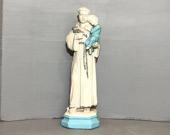 Vintage, Religious, Statue, European, Plaster, St. Joseph, Baby Jesus, White, Gold, Blue, FREE SHIPPING