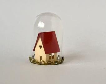 Paper Anniversary, Handmade Paper Gift,  Papercut Miniature House, Mini Glass Dome, Kirigami Paper Art, Paper Craft