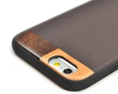 iPhone 8 Leather Case, Leather iPhone 8 Case, Wood/Leather iPhone 7 Case - LTR-BR-I8