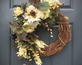 30% OFF White Pumpkin Wreath, Fall Pumpkins, White Pumpkin Decor, Fall Decorating, Sunflower Wreaths, Fall Sunflowers, Fall Door Decorations