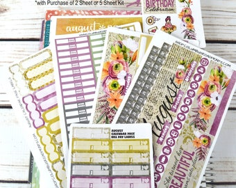 "August 2017 CALENDAR PAGES Kit, ""Beautiful Dreams"" August Monthly planner stickers kit fits EC Life Planners 2016-17 & 2017-18"