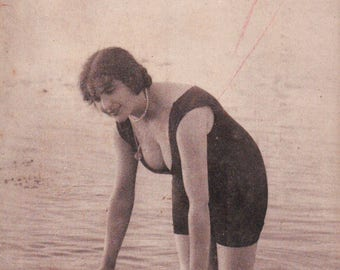 1900's Bathing Beauty postcard - Une Bagneuse - woman on beach in bathing suit - Bains de Mer, France