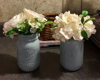 Handmade vintage style mason jar vases