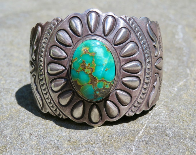 Featured listing image: Turquoise and Silver Repousse Cuff, Vintage Lester James Turquoise Bracelet, Vintage Navajo Turquoise Jewelry, Native American Artisan Cuff