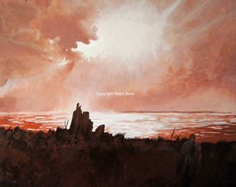 Looking West From the Bay Copper Landscape/Seascape original Acrylic Painting
