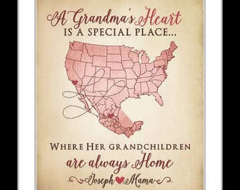 Birthday Gift For Grandma, Christmas Gift For Grandparents Long Distance Map Print Christmas Presents Two States Maps Always Close At Heart