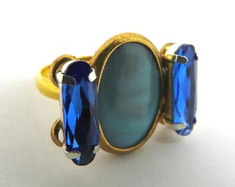 ROYAL BLUE RING best mates jewelry gift blue rhinestone  blue crystal  pretty friends light robin egg  blue cocktail  dark best friend