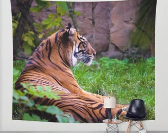 Tiger tapestry animal tapestry water tapestry Photo Tapestry Nature Tapestry Green Tapestry Wall Hanging Tapestry hippie tapestry