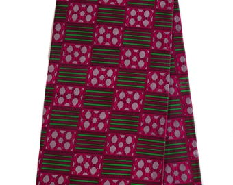 Quality Kente cloth / Raspberry and Green color/ Wholesale Kente print fabric/ Kente fabric/ Kente print / African fabric/ KF257B