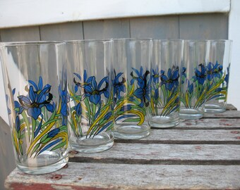 Blue Iris glass juice or other. Set of 6 glasses. Embossed pattern.