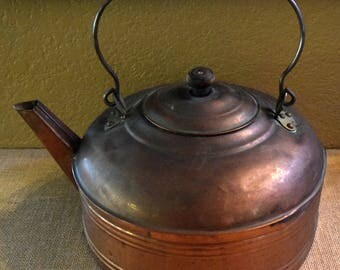 Vintage Primitive Copper Kettle with Wooden Knob and Handle - Revere Ware