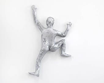 Cyber Monday SALE - Climbing man sculpture, Sport art, metal wall art, Rustic wall decor, rock climbing, 3d wall art- silver