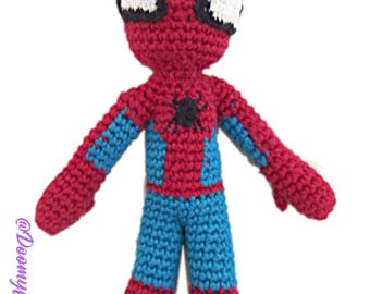 Spiderman Textile amigurumi crocheted cotton doll