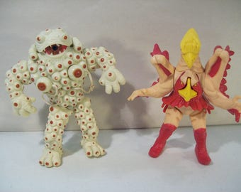Lot of 2 Vintage Power Rangers Evil Space Aliens Action Figures, Eye Popping Eye Guy, Pete & Repeat 1994 Bandai