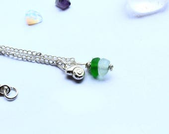 Sea Glass Necklace Green and Silver with Ammonoid Charm