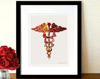 "Flower Caduceus - Vintage, 8.5"" x 11"", Registered Nurse Gift, Nurse Graduation gift, Medical Clinic Decor Artwork, Nurse Thank You gift"