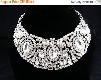 SALE SALE Silver Crystal Rhinestone Crescent Statement Bridal Necklace, Crystal Wedding Necklace, Crystal Formal Necklace