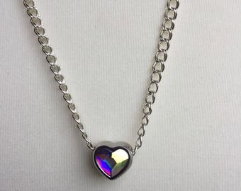 Swarovski Crystal Heart BeCharmed Necklace, Handmade Sterling Silver Heart Necklace, Designer Swarovski Heart Necklace, K Brown Jewellery