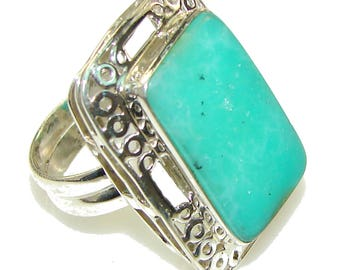 Chrysoprase Sterling Silver Ring - weight 11.40g - Size 10 - dim l -1 3 8, W -1, t -3 8 inch - code 5-lut-15-13