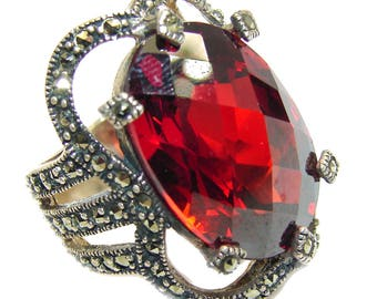 Cubic Zirconia, Marcasite Sterling Silver Ring - weight 13.70g - Size 6 - dim L - 1, W - 3 4, T - 3 8 inch - code 2-wrz-16-34