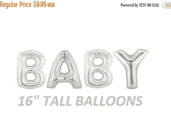 SALE 16 inch BABY letters balloons SILVER for Baby Showers Decorations Foil Mylar Metallic Balloon Air balloon
