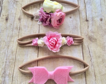 3 pack of nylon bows, pink headband bow set 1 size fits all, comfy baby newborn girls hair, flowers and bows, photo shoot