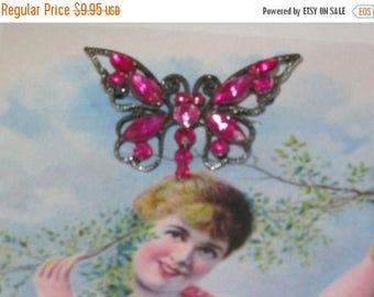 Summer Sale Vintage Hot Pink Rhinestone Silvertone Butterfly Brooch, Pin