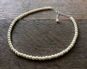 Ivory Flower Girl Necklace, Simple Pearl Necklace, Choker or Long Necklace, Sautoir, Flower Girl Jewelry Gift on Silver or Gold Chain