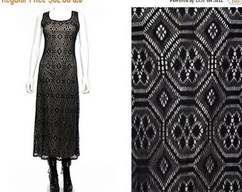 35off Vtg 90s Black Illusion Crochet Macrame Mesh Boho Maxi Dress M