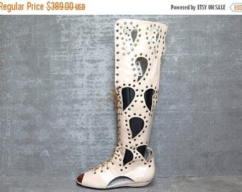 35off Vtg 60s 70s Leather Studded Boho Cutout Studded Mod Gladiator Boots Sandals 7 8